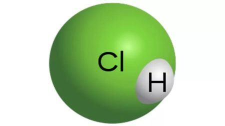 Модель молекулы соляной кислоты